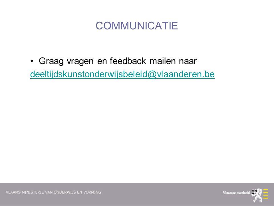 COMMUNICATIE Graag vragen en feedback mailen naar