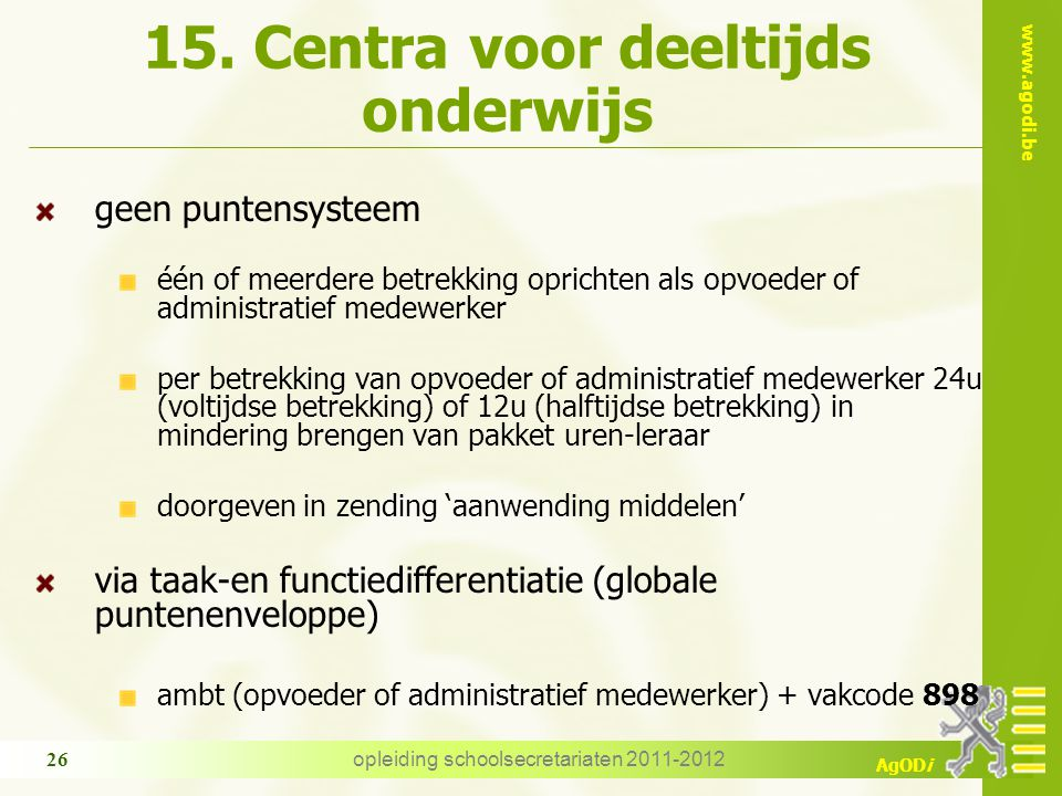 15. Centra voor deeltijds onderwijs