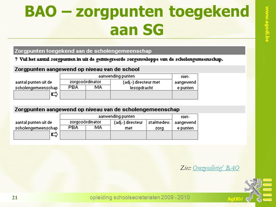 BAO – zorgpunten toegekend aan SG