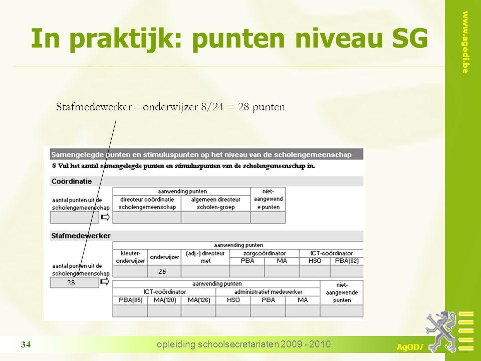In praktijk: punten niveau SG
