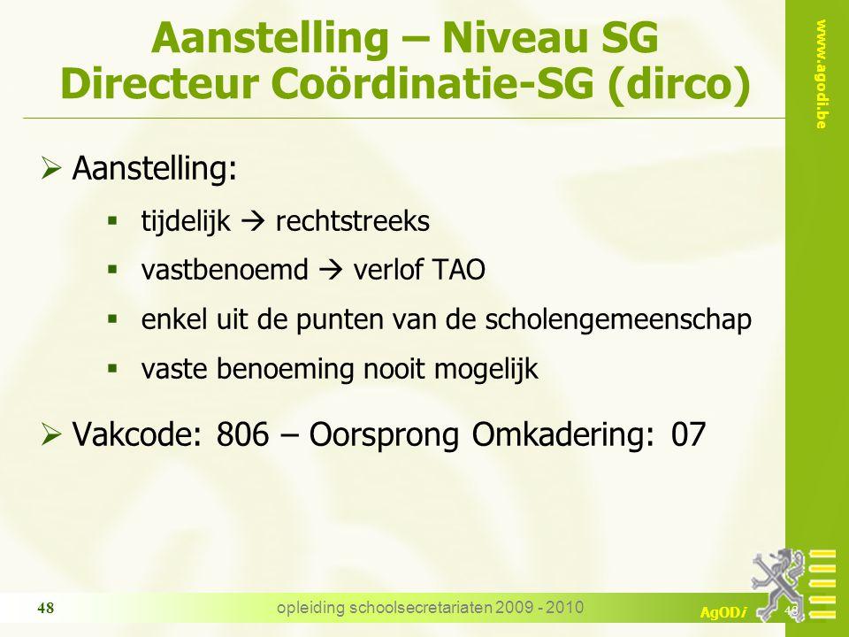 Aanstelling – Niveau SG Directeur Coördinatie-SG (dirco)
