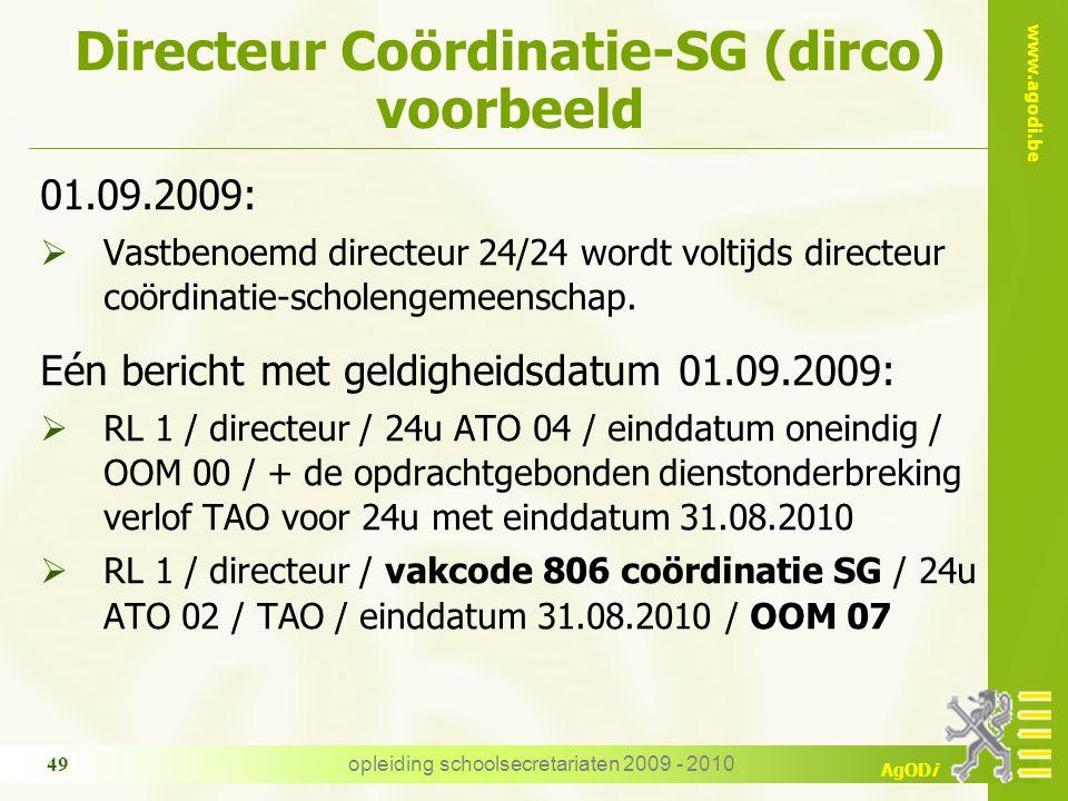 Directeur Coördinatie-SG (dirco) voorbeeld