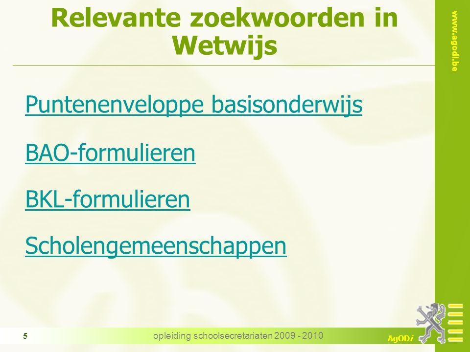 Relevante zoekwoorden in Wetwijs