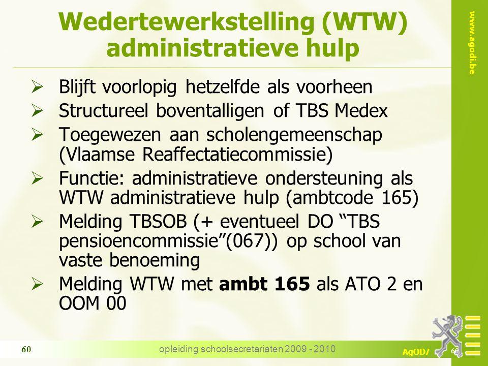 Wedertewerkstelling (WTW) administratieve hulp