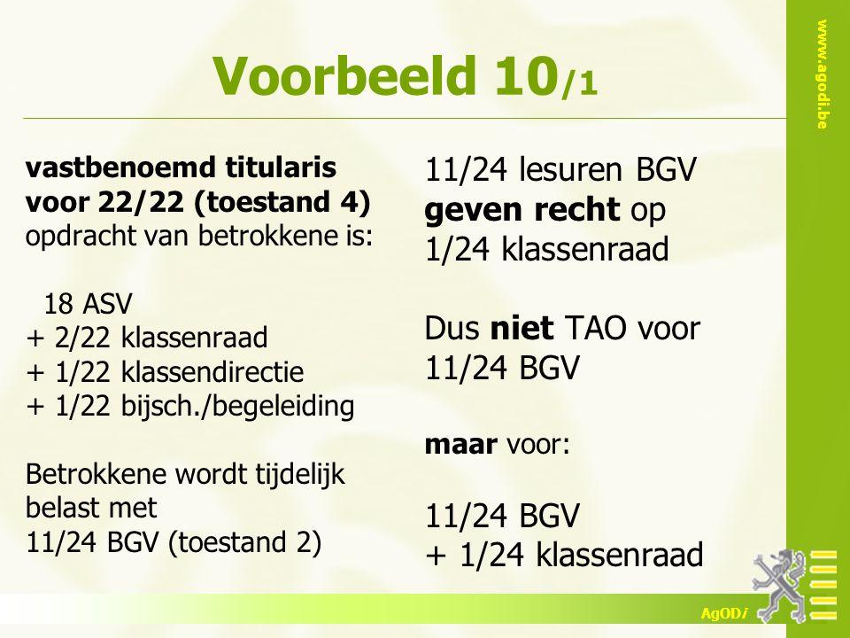 Voorbeeld 10/1 11/24 lesuren BGV geven recht op 1/24 klassenraad
