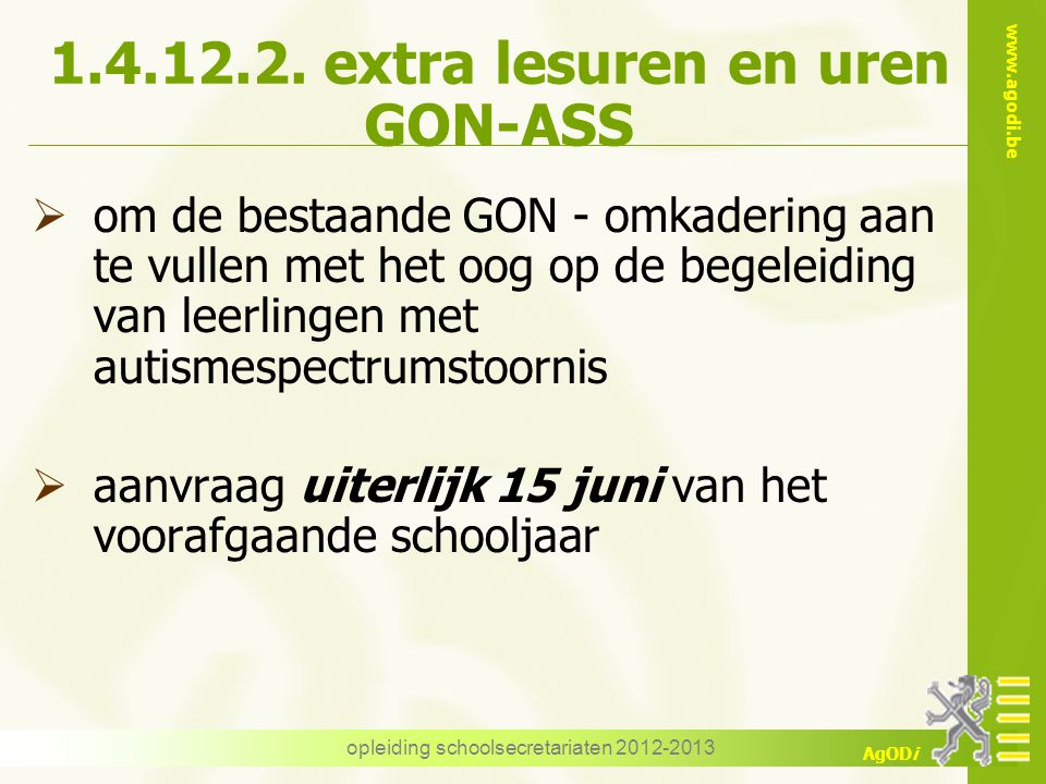 1.4.12.2. extra lesuren en uren GON-ASS