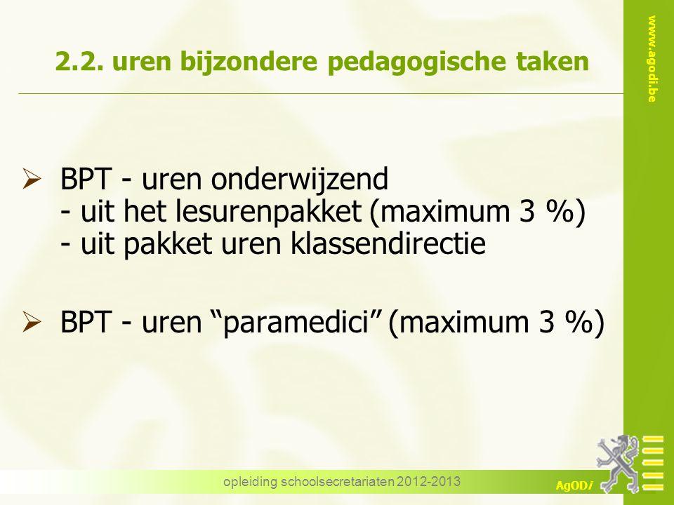2.2. uren bijzondere pedagogische taken
