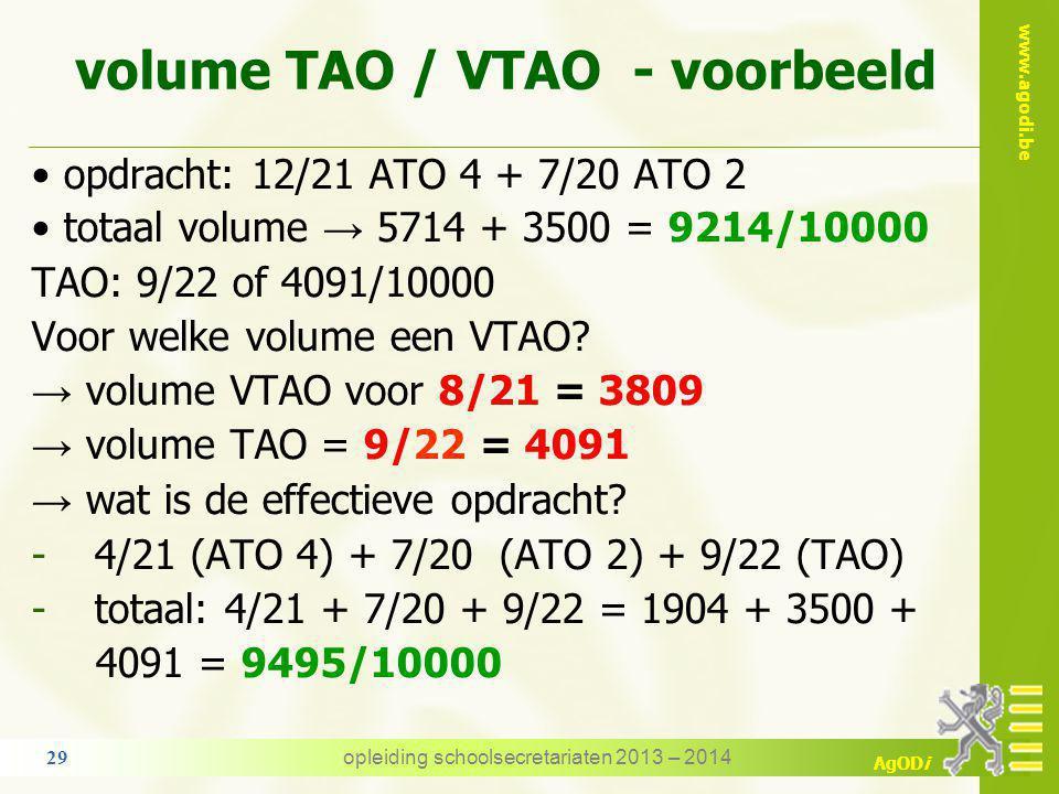 volume TAO / VTAO - voorbeeld