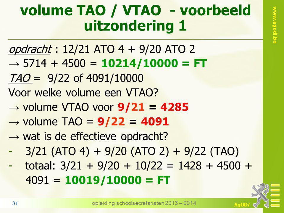 volume TAO / VTAO - voorbeeld uitzondering 1