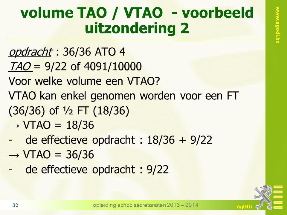 volume TAO / VTAO - voorbeeld uitzondering 2