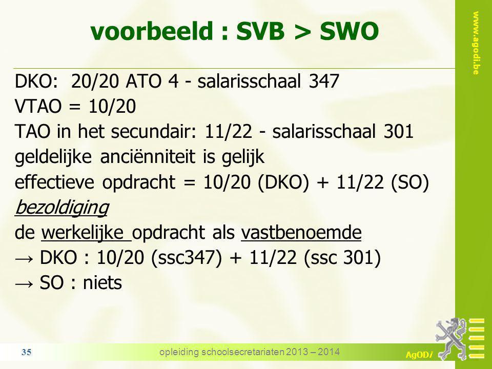 voorbeeld : SVB > SWO