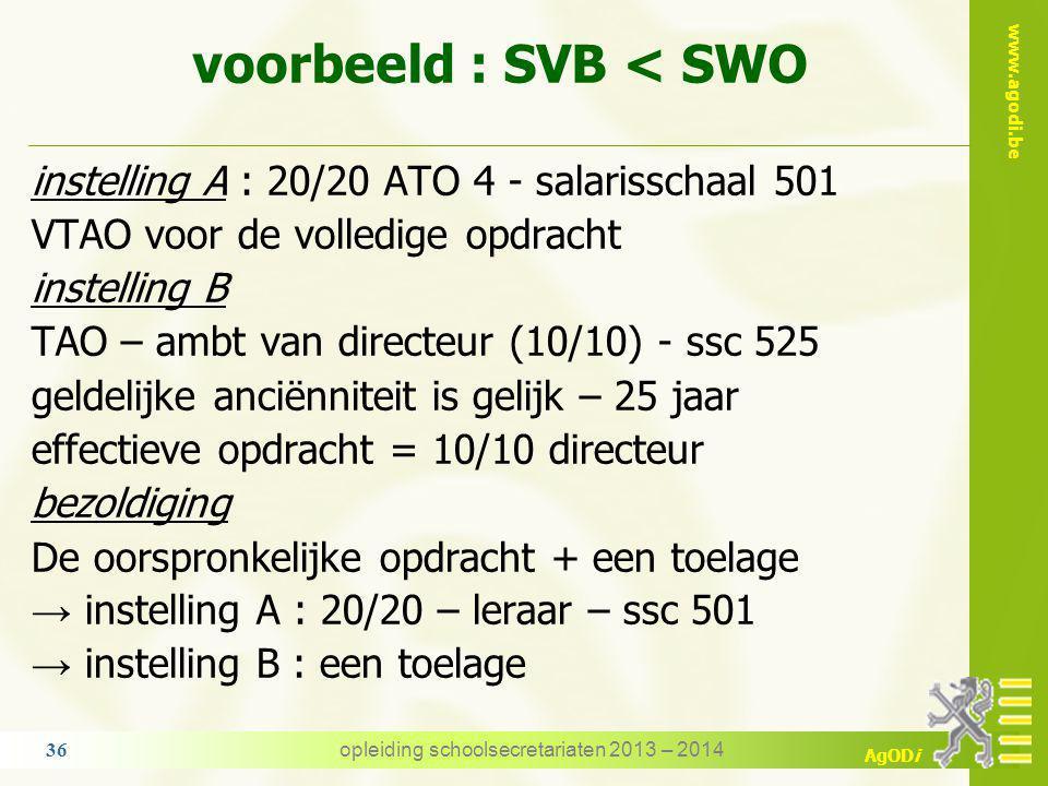 voorbeeld : SVB < SWO