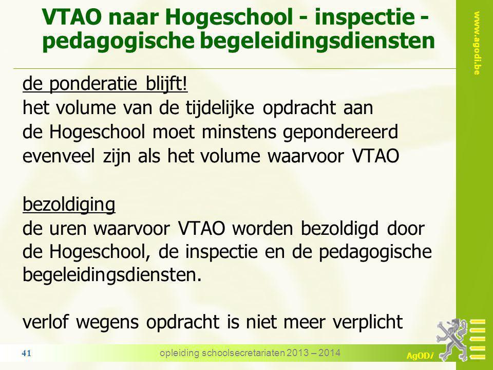 VTAO naar Hogeschool - inspectie - pedagogische begeleidingsdiensten