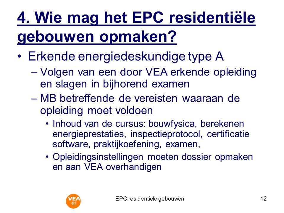 4. Wie mag het EPC residentiële gebouwen opmaken