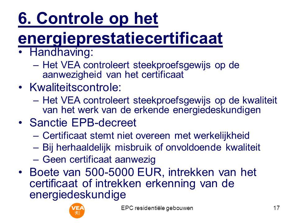 6. Controle op het energieprestatiecertificaat