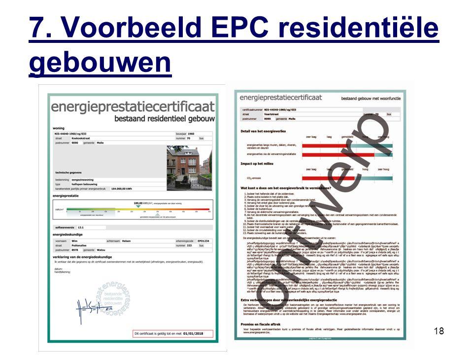 7. Voorbeeld EPC residentiële gebouwen