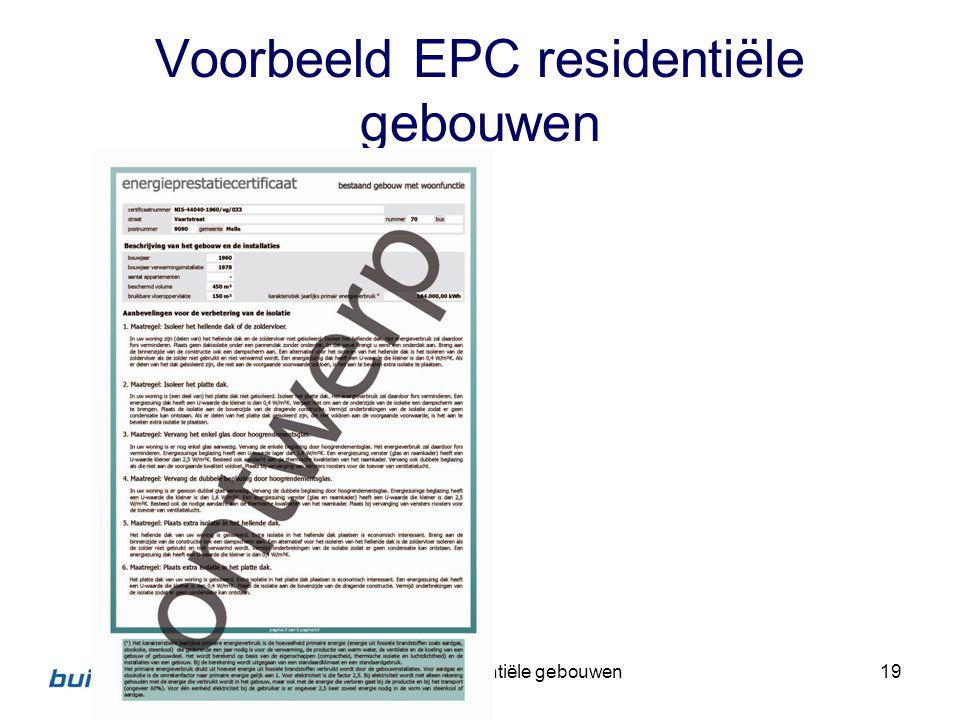 Voorbeeld EPC residentiële gebouwen