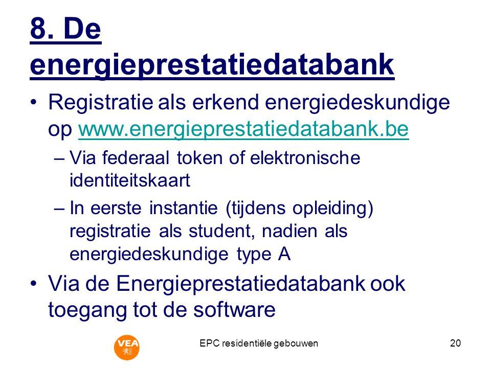 8. De energieprestatiedatabank