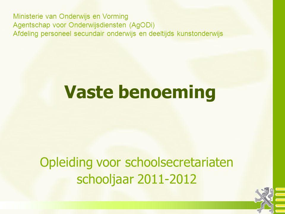 Opleiding voor schoolsecretariaten schooljaar 2011-2012