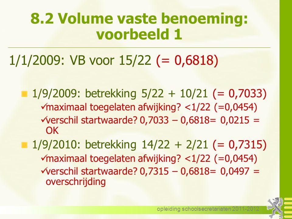 8.2 Volume vaste benoeming: voorbeeld 1