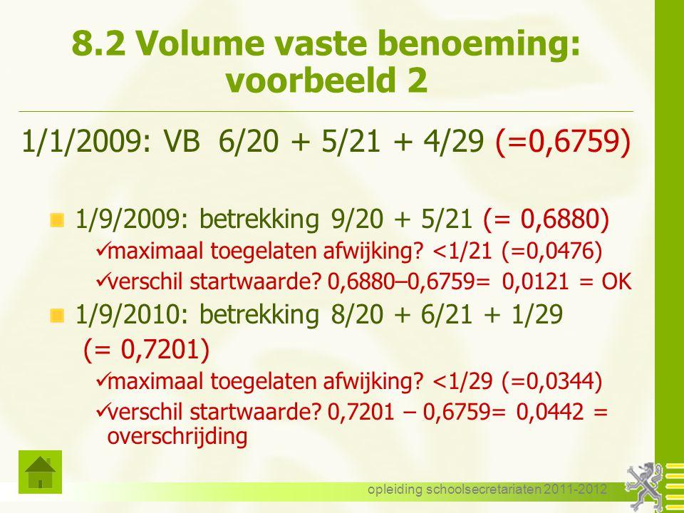 8.2 Volume vaste benoeming: voorbeeld 2