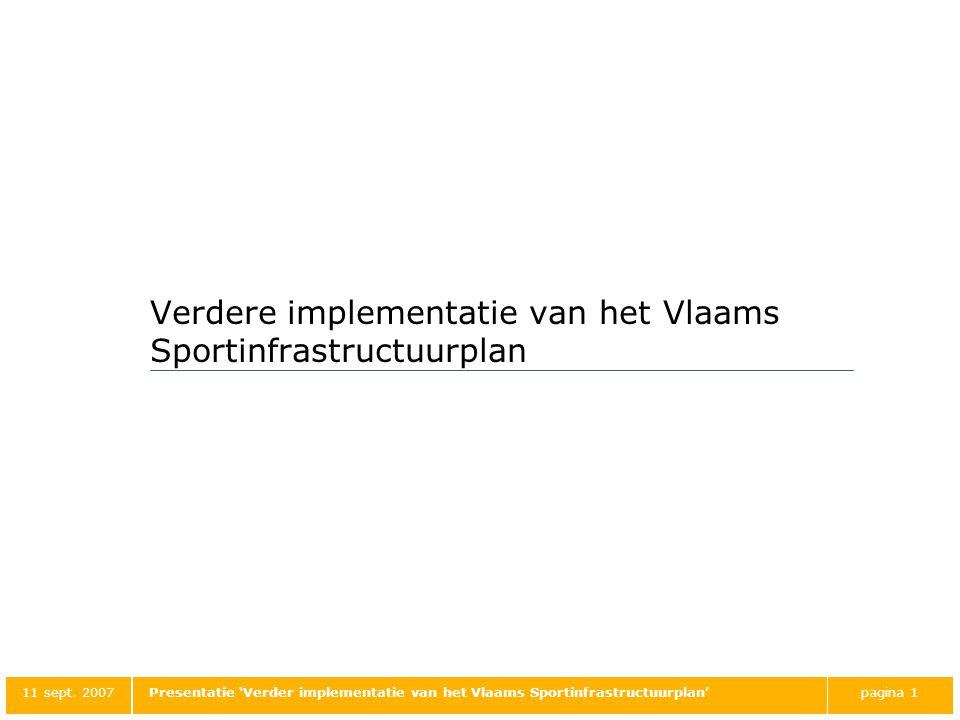 Verdere implementatie van het Vlaams Sportinfrastructuurplan