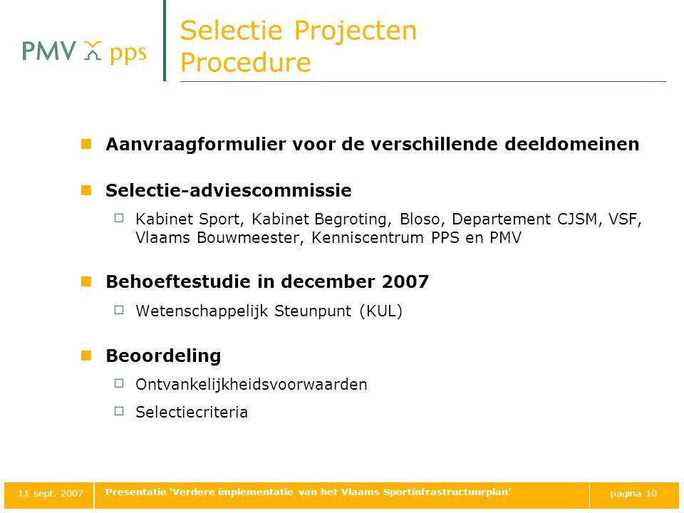 Selectie Projecten Procedure