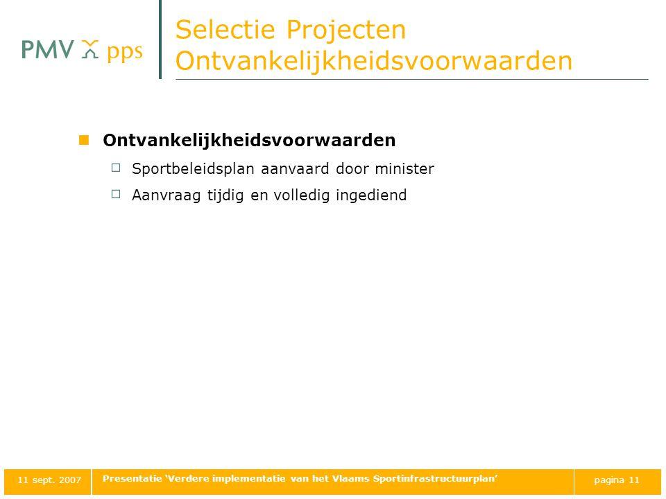 Selectie Projecten Ontvankelijkheidsvoorwaarden