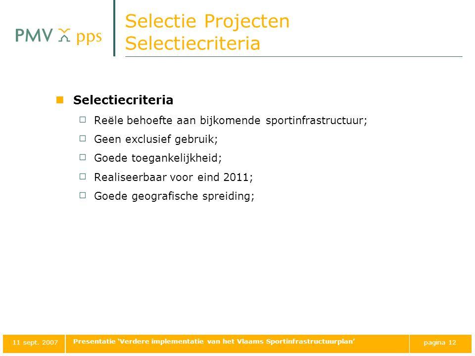 Selectie Projecten Selectiecriteria