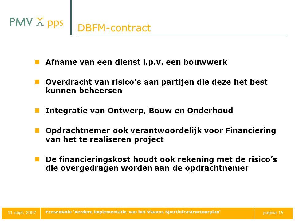DBFM-contract Afname van een dienst i.p.v. een bouwwerk