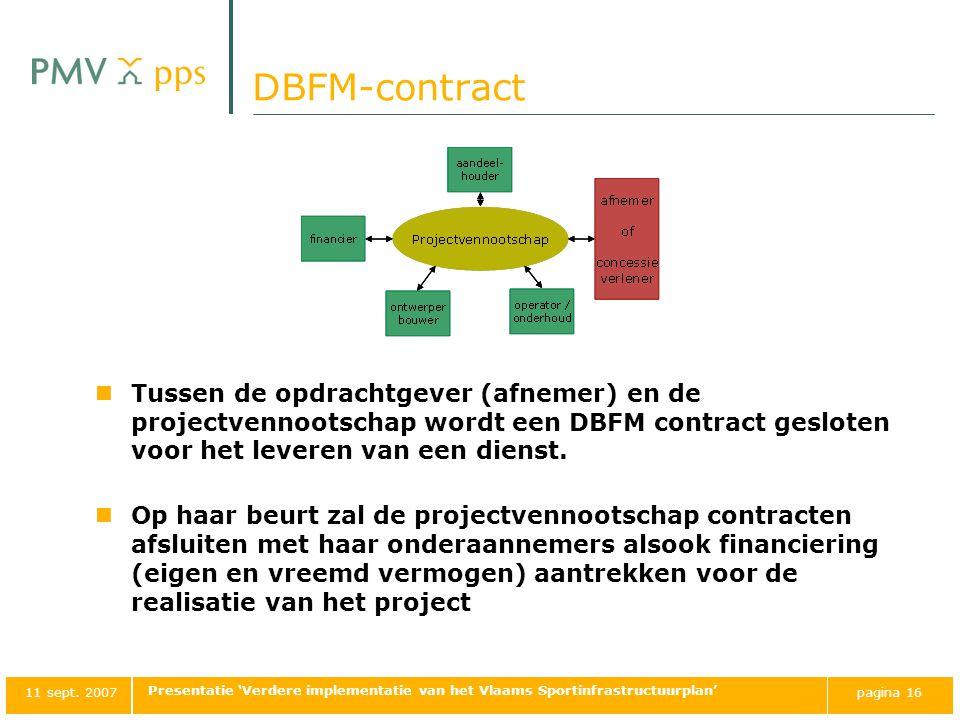 DBFM-contract Tussen de opdrachtgever (afnemer) en de projectvennootschap wordt een DBFM contract gesloten voor het leveren van een dienst.