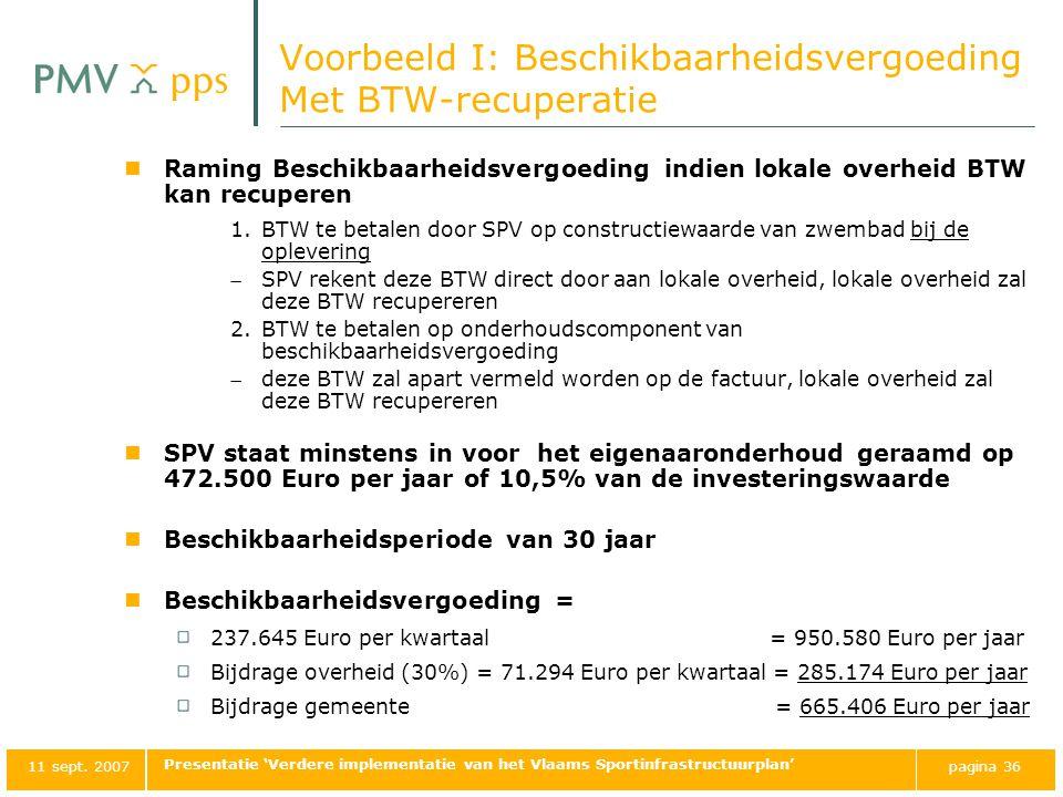 Voorbeeld I: Beschikbaarheidsvergoeding Met BTW-recuperatie