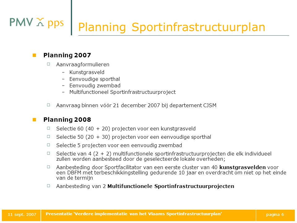 Planning Sportinfrastructuurplan