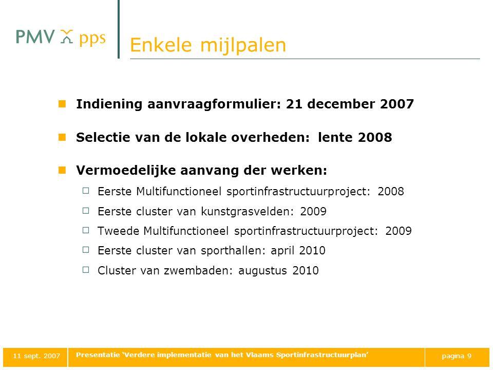 Enkele mijlpalen Indiening aanvraagformulier: 21 december 2007