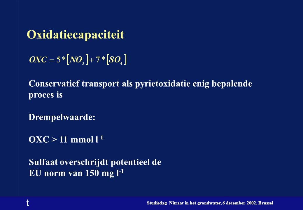 Oxidatiecapaciteit Conservatief transport als pyrietoxidatie enig bepalende proces is. Drempelwaarde: