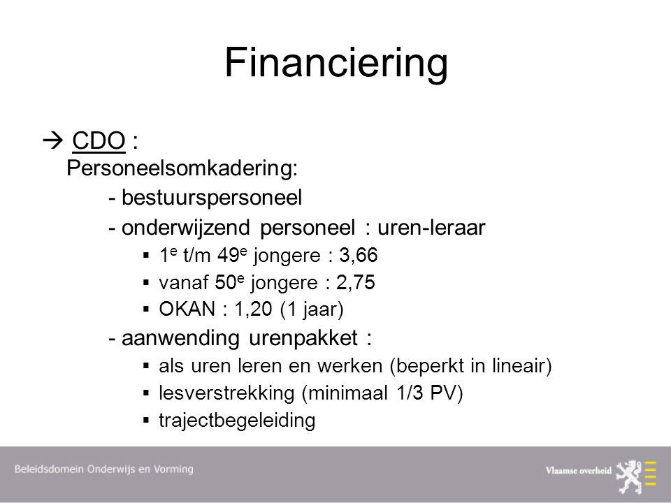 Financiering  CDO : Personeelsomkadering: - bestuurspersoneel