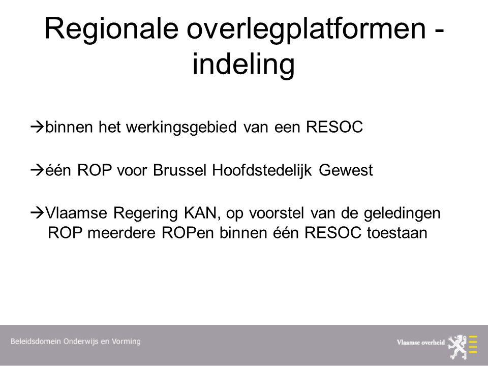 Regionale overlegplatformen - indeling