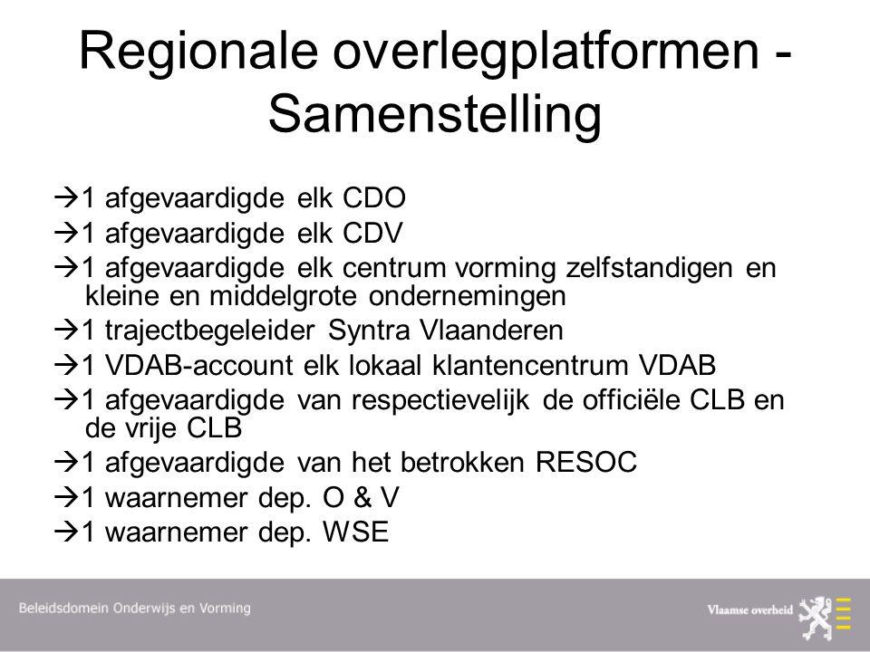 Regionale overlegplatformen - Samenstelling