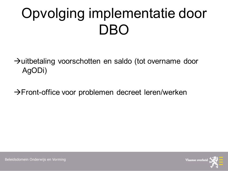 Opvolging implementatie door DBO