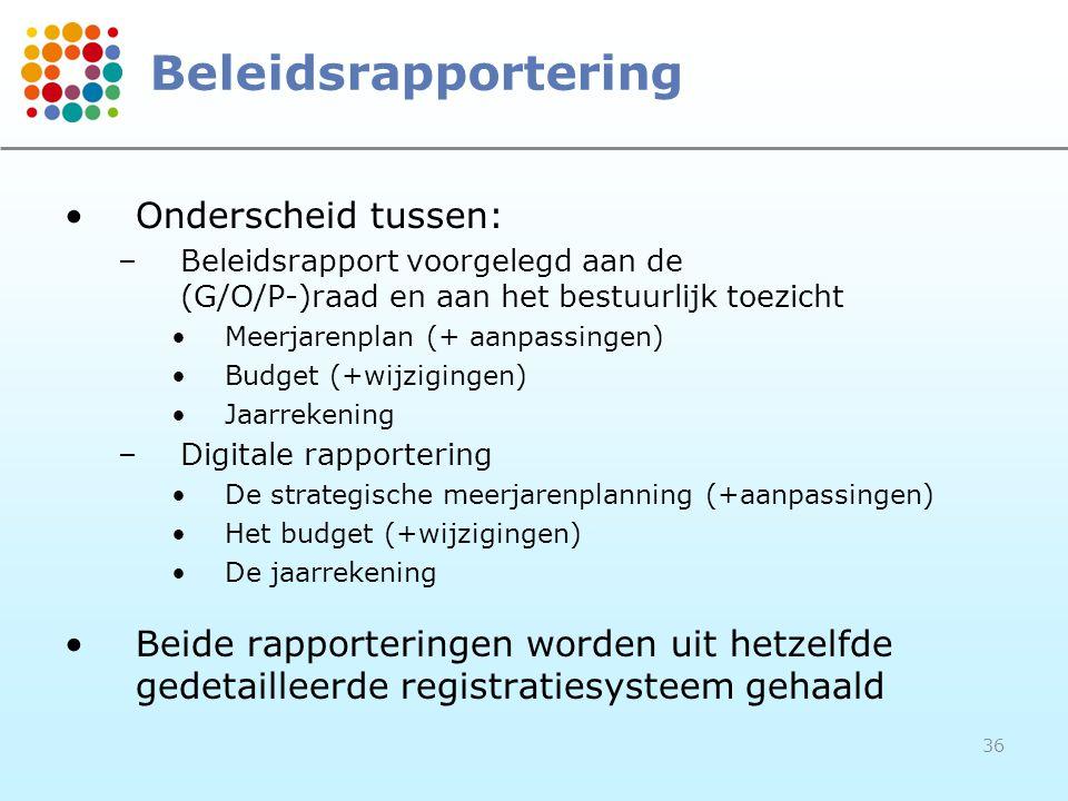 Beleidsrapportering Onderscheid tussen: