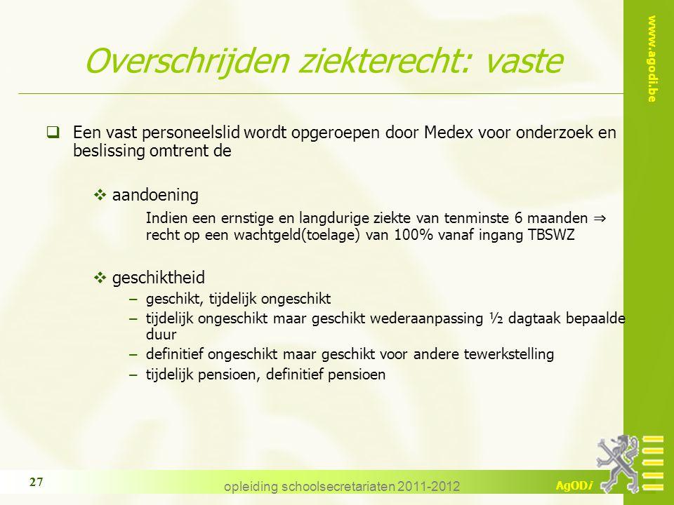 Overschrijden ziekterecht: vaste