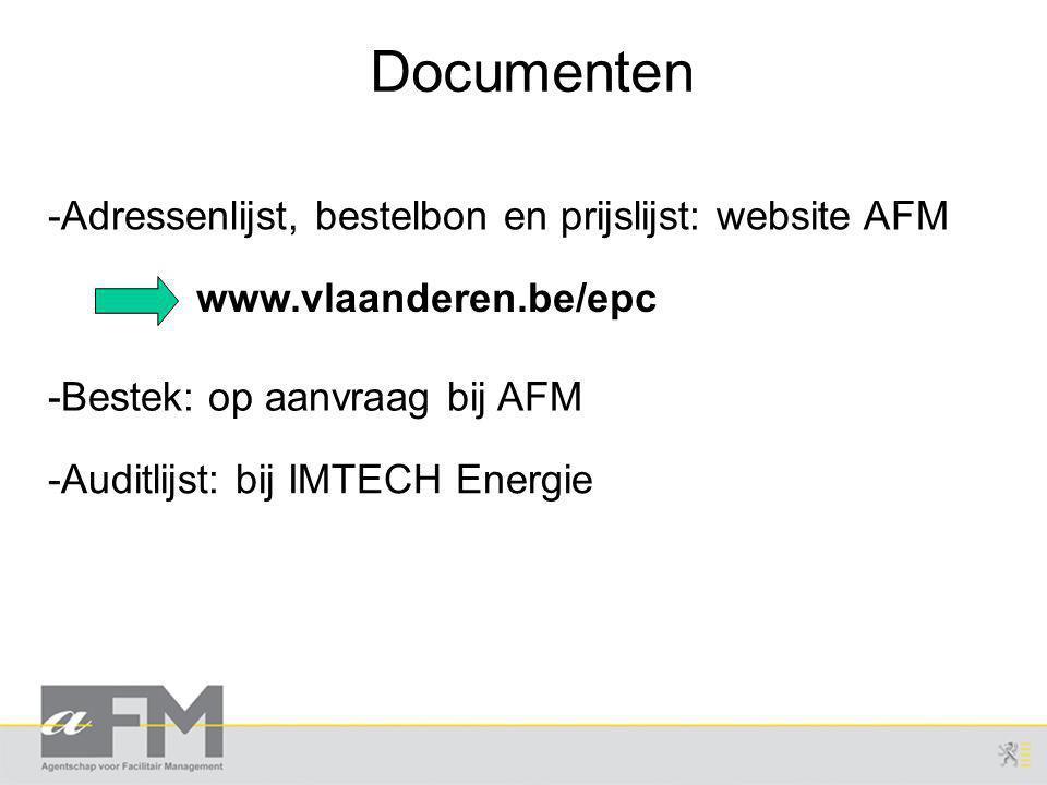 Documenten -Adressenlijst, bestelbon en prijslijst: website AFM