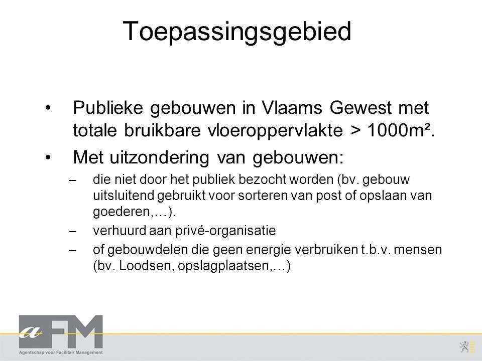Toepassingsgebied Publieke gebouwen in Vlaams Gewest met totale bruikbare vloeroppervlakte > 1000m².