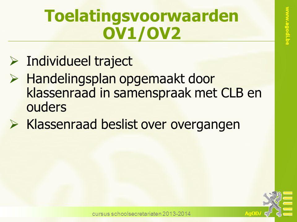 Toelatingsvoorwaarden OV1/OV2