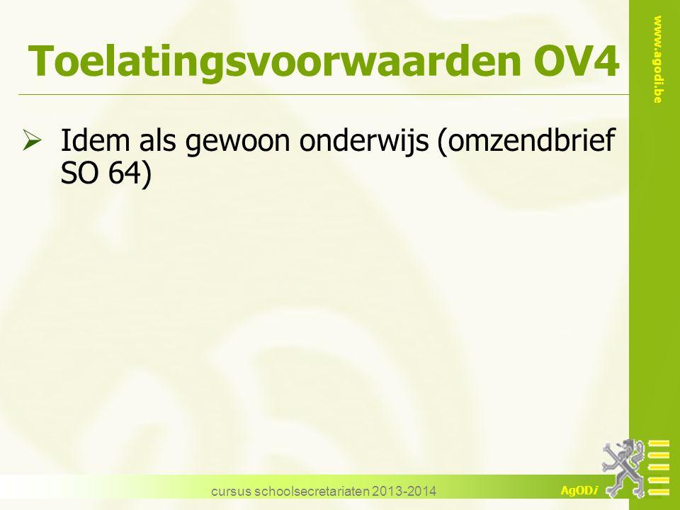 Toelatingsvoorwaarden OV4