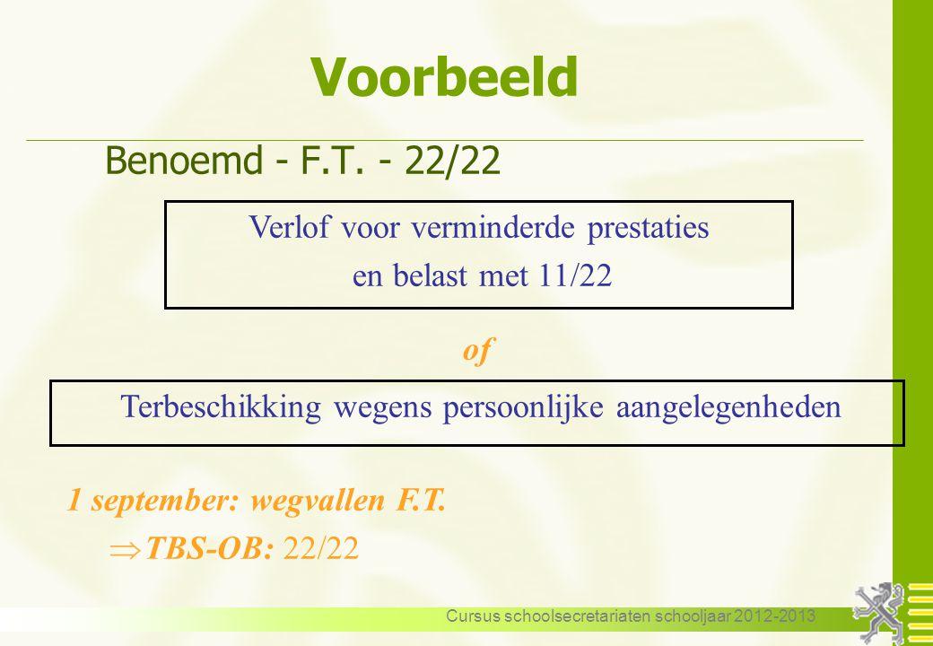 Voorbeeld Benoemd - F.T. - 22/22 Verlof voor verminderde prestaties