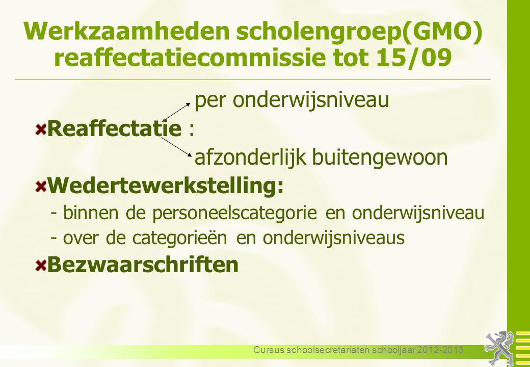 Werkzaamheden scholengroep(GMO) reaffectatiecommissie tot 15/09