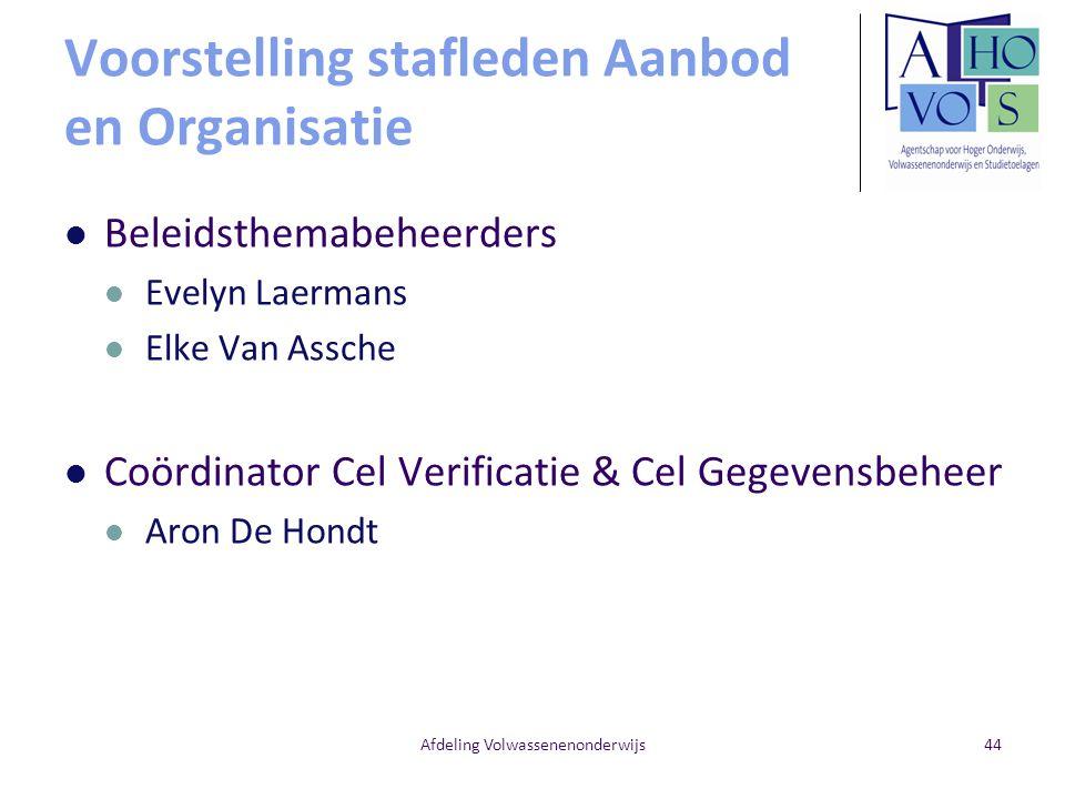 Voorstelling stafleden Aanbod en Organisatie