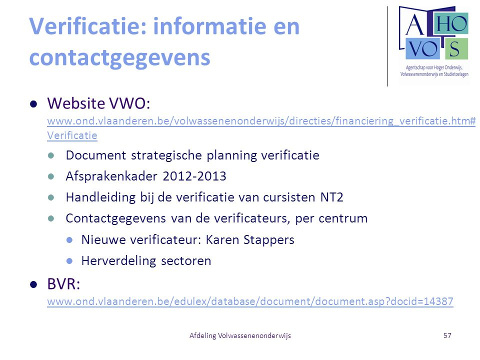 Verificatie: informatie en contactgegevens