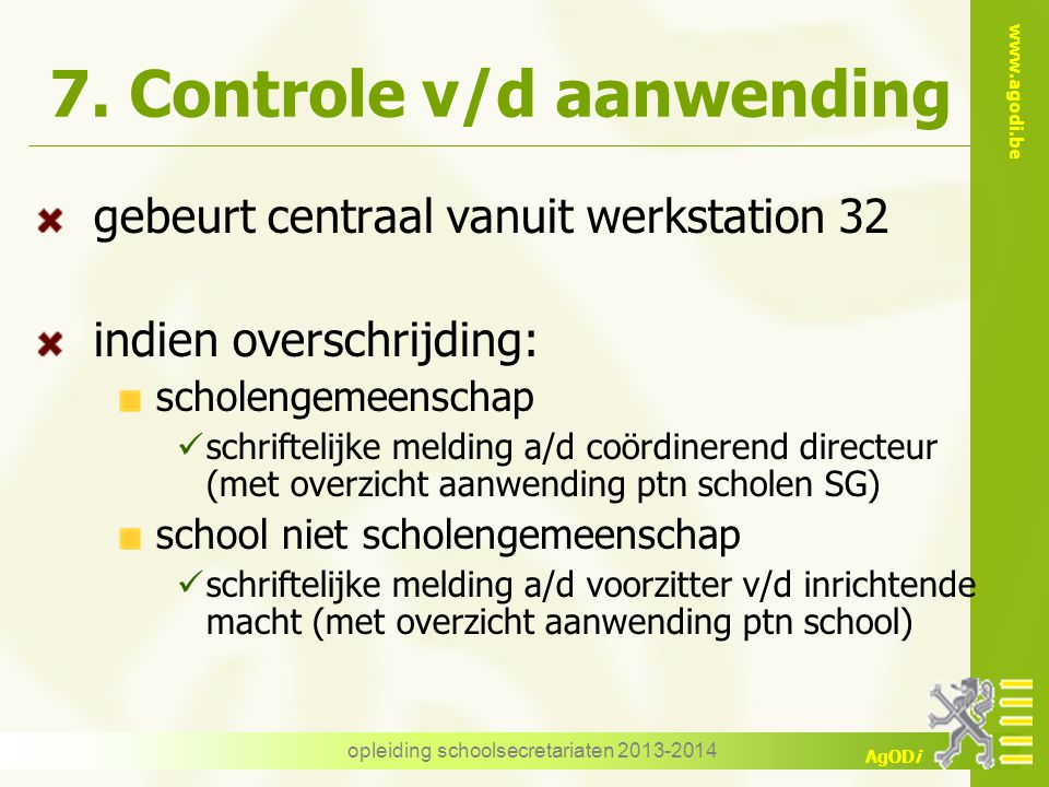 7. Controle v/d aanwending